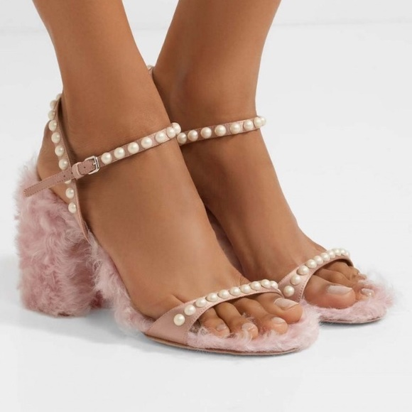 d3b5743630 Miu Miu Shoes | Pink Pearl Strap Faux Fur Heeled Sandals | Poshmark